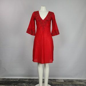 Zara Basic Red Beaded Dress Size S